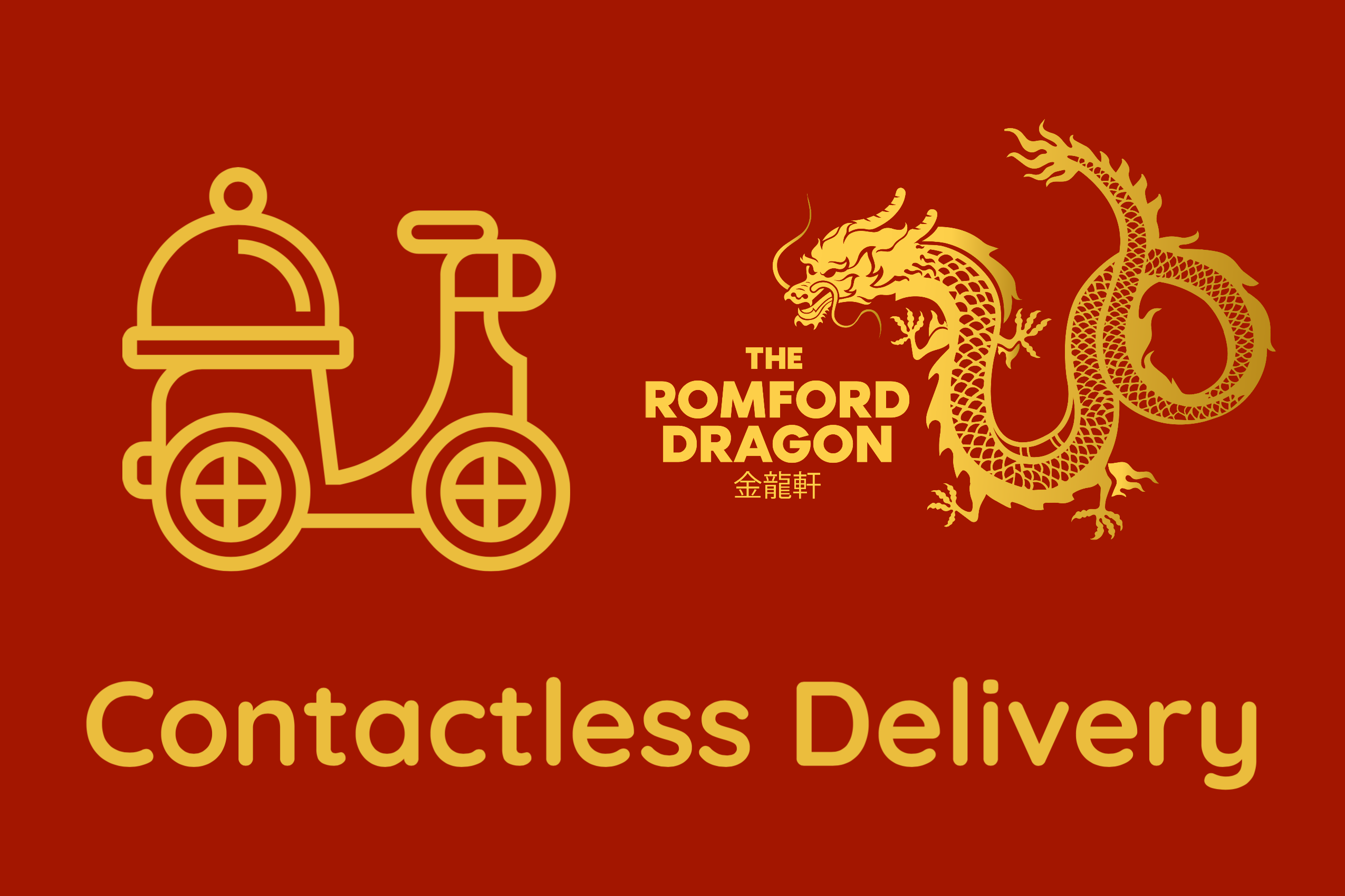 """contactless delivery"" icon of delivery scooter and dinner service on its seat, and romford dragon logo"