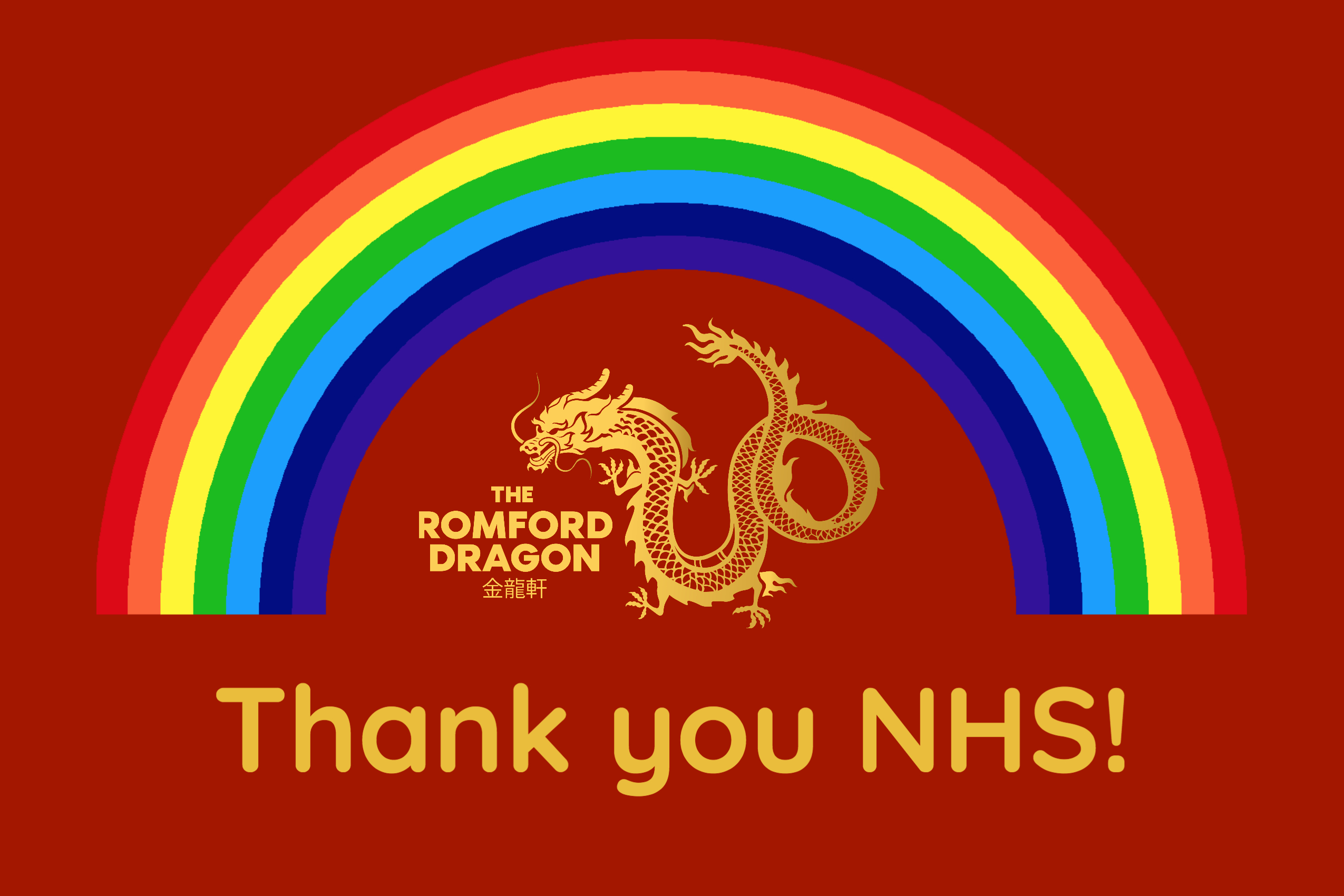 Thank you NHS The Romford Dragon logo with a Rainbow at the top