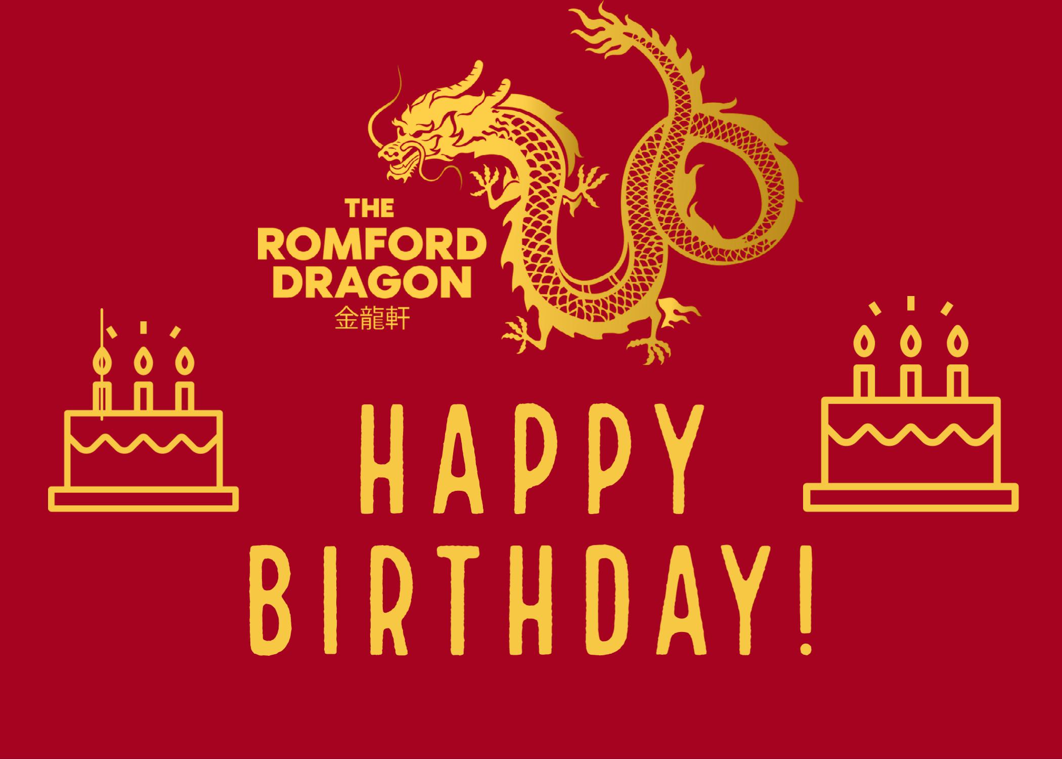 happy birthday romford dragon graphic with birthday cakes
